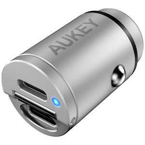 AUKEY(オーキー) カーチャージャー Nano Series 30W Enduro Duo PD3.0 QC3.0 [USB-C 2ポート] シルバー AUKEY(オーキー) Silver CCA4SV