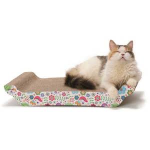 猫壱 バリバリ ベッド L花柄 バリバリベッドLハナガラ