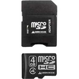 グリーンハウス microSDHCメモリーカード(SDHC変換アダプタ付き/防水仕様) 「Class4対応/4GB」 4GBmc04 GHSDMRHC4G4