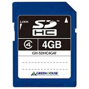 グリーンハウス SDHCメモリカード [Class4対応/4GB] 4GBSD04 GHSDHC4G4F
