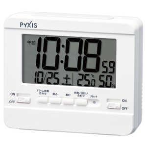 セイコー PYXIS 目覚まし時計 【温度・湿度表示】 白 NR538W
