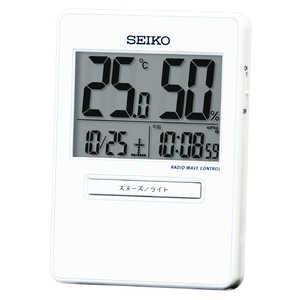 セイコー 電波デジタル時計 【温度・湿度メイン表示】 白 SQ797W