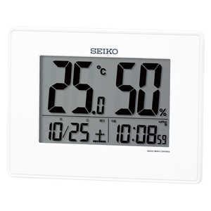 セイコー 電波デジタル時計 【温度・湿度メイン表示】 白 SQ798W