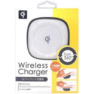 オズマ ワイヤレス充電器[Qi対応](5W・micro USBケーブル1m付き) ホワイト/シルバー ホワイト WLC0501WS
