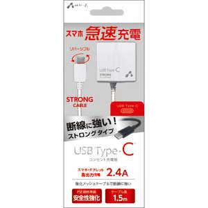 エアージェイ TYPE-C 2.4Aタイプ ACストロング充電器 WH ホワイト AKJCT24STGWH