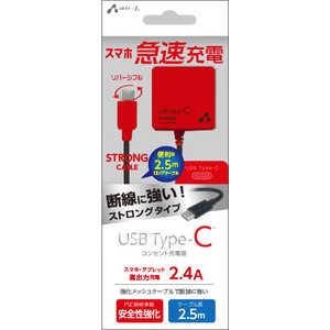 エアージェイ [Type-C] 2.4Aタイプ 2.5mケーブルACストロング充電器 BKR レッド AKJCTL24STGBKR