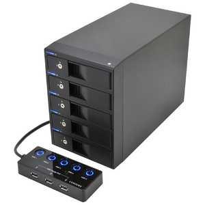 センチュリー USB3.0対応 SATA3.5HDDケース 裸族のカプセルホテル5Bay ブラック CRCH535U3ISC