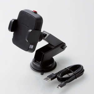 エレコム ELECOM Qi規格対ワイヤレス充電器 5W 車載ホルダー 吸盤 ロングタイプ ブラック ブラック WQC04BK