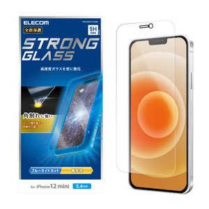 エレコム ELECOM iPhone 12 mini 5.4インチ対応 ガラスフィルム エッジ強化 0.33mm 防塵プレート ブルーライトカット 光沢 PMA20AFLGGSBL