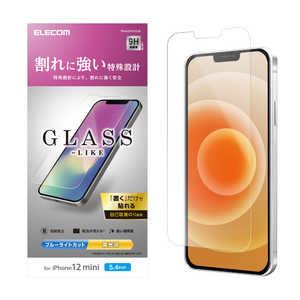 エレコム ELECOM iPhone 12 mini 5.4インチ対応 ガラスライクフィルム 薄型 ブルーライトカット BLカット PMA20AFLGLBL