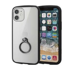 エレコム ELECOM iPhone 12 mini 5.4インチ対応 ハイブリッドケース TOUGH SLIM LITE フレームカラー リング付き ブラック ブラック PMA20ATSLFCRBK