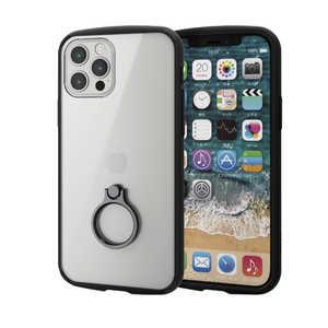 エレコム ELECOM iPhone 12/12 Pro 6.1インチ対応 ハイブリッドケース TOUGH SLIM LITE フレームカラー リング付き ブラック ブラック PMA20BTSLFCRBK