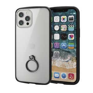 エレコム ELECOM iPhone 12 Pro Max 6.7インチ対応ハイブリッドケース TOUGH SLIM LITE フレームカラー リング付き ブラック ブラック PMA20CTSLFCRBK