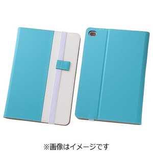 レイアウト iPad mini 4用バイカラー・ブックレザーケース 合皮 ブルー/ホワイト ブルーホワイト RTPM3LC7AW