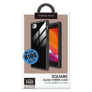 PGA Premium Style iPhone SE(第2世代) ガラスハイブリッドケース ブラック ブラック PG20MGT09BK