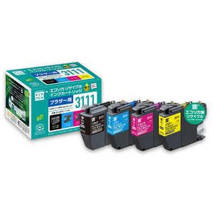 エコリカ リサイクルインクカートリッジ【ブラザー用 LC3111-4PK互換】 ECIBR31114P