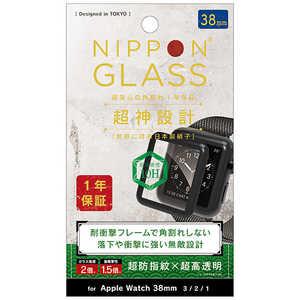 NIPPONGLASS AppleWatch 38mm 超神設計 2倍強化 超透明 ブラック ブラック TYAW2038G3FGNCCBK
