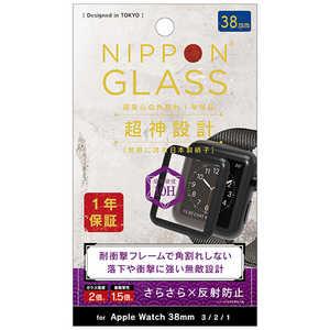 NIPPONGLASS AppleWatch 38mm 超神設計 2倍強化 反射防止 ブラック ブラック TYAW2038G3FGNAGBK