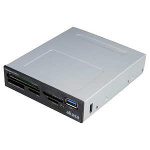 アイネックス UHS-II対応 USB3.0 内蔵カードリーダー ブラック AKICR27