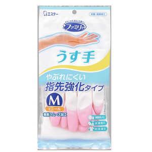 エステー ファミリー ビニール うす手 指先強化 M ピンク 1双 ピンク ファミリービニールウステユビサキキョ