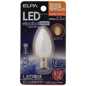 ELPA LED装飾電球 ローソク球形 LEDエルパボールmini ホワイト [E12/電球色/シャンデリア電球形] E12/L/装飾 LDC1LGE12G301