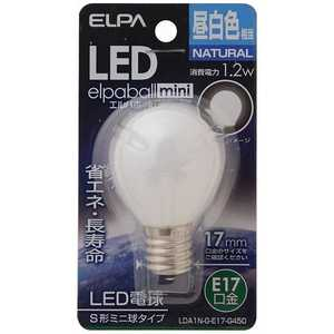 ELPA LED装飾電球 S形ミニ球形 LEDエルパボールmini ホワイト [E17/昼白色/一般電球形] E17/L/装飾 LDA1NGE17G450