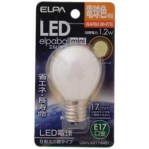 ELPA LED装飾電球 S形ミニ球形 LEDエルパボールmini ホワイト [E17/電球色/一般電球形] E17/D/装飾 LDA1LGE17G451