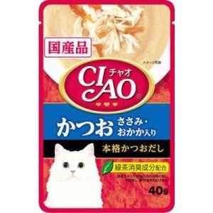 いなばペットフード チャオ CIAOパウチ かつお ささみ・おかか入り 40g IC-204 猫 IC204P40Gカツオオカカ40G