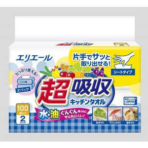 大王製紙 エリエール超吸収キッチンタオルシートタイプ100組2個 Eキッチンシート100W2P