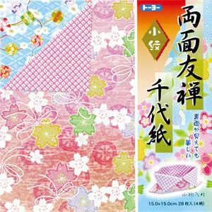 トーヨー 両面友禅千代紙 小紋 4色入り(15cm×15cm・28枚) 10118