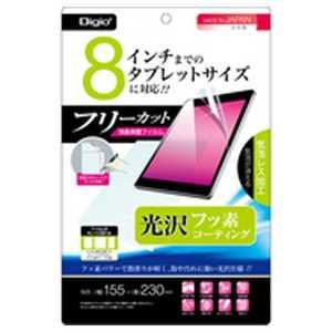 ナカバヤシ Digio2 タブレット対応 フリーカット用液晶保護フィルム 気泡レス フッ素コーティング 光沢 フッ素光沢 TBFFR8FLKF