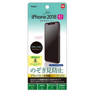 ナカバヤシ Digio2 iPhone XR 6.1インチ用液晶保護フィルム のぞき見防止 覗き見防止 SMFIP182FLGPV