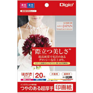 ナカバヤシ Digio2 インクジェット用 印画紙 超厚手 はがきサイズ 20枚 PC JPSK2PC20