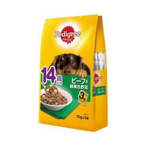 マースジャパンリミテッド ペディグリー 14歳から用 ビーフ&緑黄色野菜 70g×3袋 犬 PWP914サイビーフヤサイ70GX3