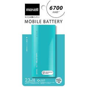 マクセル モバイルバッテリー ミントグリーン [6700mAh /1ポート /microUSB /充電タイプ] MPCC6700PMG