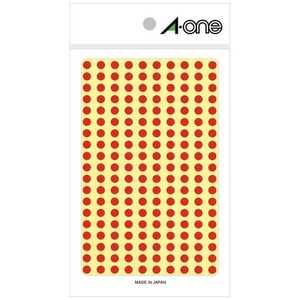エーワン カラーラベル[5mmφ](200面:9シート(1800片)/赤) 07061