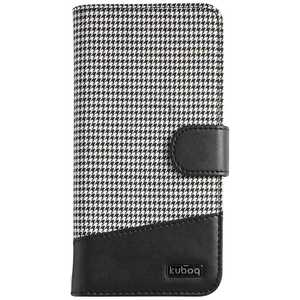 OWLTECH スマートフォン用[幅 74mm/5.2インチ] マルチサイズ対応 手帳型ケース 千鳥格子 OWLCVMU03CGBKW