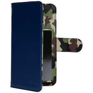 OWLTECH スマートフォン用[幅 74mm/5.2インチ] マルチサイズ対応 裏地迷彩柄 手帳型ケース ネイビー OWLCVMU05CANV