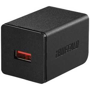 BUFFALO タブレット/スマートフォン対応[USB給電] AC - USB充電器 2.4A (ブラック) ブラック BSMPA2402P1BK