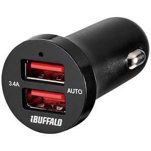 BUFFALO タブレット/スマートフォン対応 DC - USB充電器 3.4A (2ポート) ブラック BSMPS3402P2BK