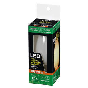 ヤザワ C32シャンデリア形LED[E14/L色/WH 25W形相当] ホワイト LDC2LG32E14WH