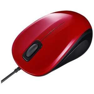 サンワサプライ 有線BlueLEDマウス「USB」静音モデル(3ボタン・レッド) レッド MABL9R