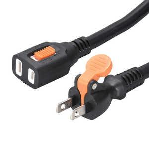 オーム電機 らく抜き&ロック式 作業用延長コード 5m 黒 HSEL1050F3K
