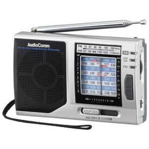 オーム電機 ポータブル短波ラジオ AudioComm グレー RADH320N