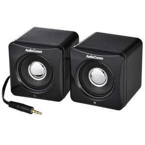 オーム電機 アクティブスピーカー AudioComm ブラック ASP204NK