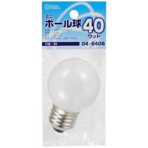 オーム電機 電球 ベビーボール球 ホワイト[E26/電球色/1個/ボール電球形] LBG5640W