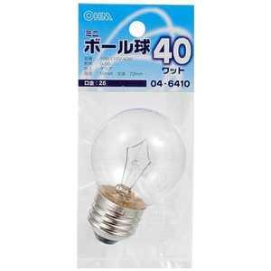 オーム電機 電球 ベビーボール球 クリア[E26/電球色/1個/ボール電球形] LBG5640C