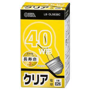 オーム電機 白熱電球 E26 40形相当 クリア 長寿命 LBDL5638C