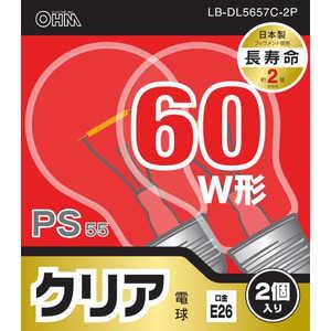 オーム電機 白熱電球 E26 60形相当 クリア 2個入 長寿命 LBDL5657C2P