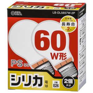 オーム電機 白熱電球 E26 60形相当 シリカ 2個入 長寿命 LBDL5657W2P